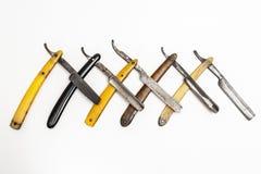 Fünf rostige Rasiermesser Lizenzfreies Stockbild