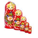 Fünf Rot Babushkas Stockbilder