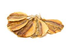 Fünf Scheiben geräucherte Fischnahaufnahme lizenzfreies stockbild
