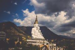 Fünf sitzende Buddha-Statuen bei Wat Pha Sorn KaewWat Phra Thart Pha Kaewin Khao Kho, Phetchabun, Norden-zentrales Thailand Lizenzfreies Stockbild