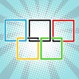 Fünf Sportringe quadrieren schwarzes Grüngelb des blauen Rotes Stockbild