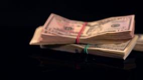 Fünf starke Bündel des Fallens mit 100 USD-Rechnungen stock video