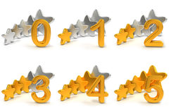 Fünf Sternbewertungen Stockfoto