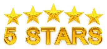 Fünf Sterne - Wiedergabe 3d Stockfotos