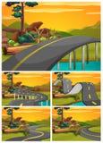 Fünf Szenen der Straße bei Sonnenuntergang vektor abbildung