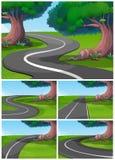 Fünf Szenen der Straße im Park lizenzfreie abbildung