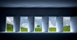 Fünf Türen mit grünem surrealem Feld und Baum Stockfotos