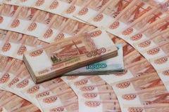Fünf tausend Rubel-Anmerkungen und tausend Rubel-Anmerkungen Lizenzfreies Stockbild