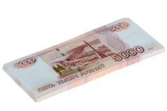 Fünf tausend Rubel Rechnungs-gestapelt Lizenzfreie Stockfotos
