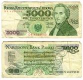 Fünf tausend zlotych, Polen Stockbilder