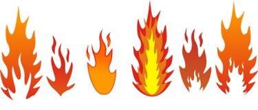 Fünf Typen Flammen Stockfotografie