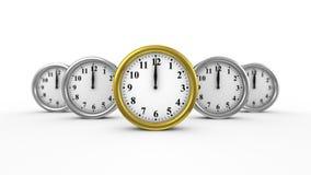 Fünf Uhren bewegen sich vorwärts stock video