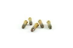 Fünf Umläufe von zweiundzwanzig (.22) Munition des Kalibers Stockfotografie