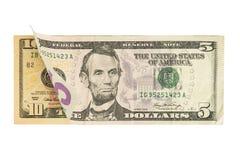 Fünf und 10 Dollarscheine Stockbilder