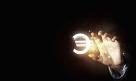 Fünf, 10 und fünfzig Eurobanknoten Stockfoto