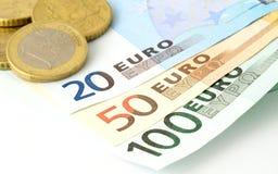 Fünf, 10 und fünfzig Eurobanknoten Lizenzfreies Stockfoto
