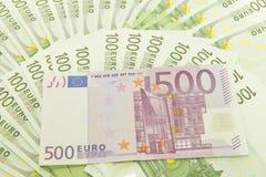 Fünf, 10 und fünfzig Eurobanknoten Stockfotos