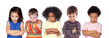 Fünf verärgerte Kinder lizenzfreies stockbild