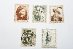 Fünf verschiedene alte Rembrandt-Briefmarken Lizenzfreies Stockfoto