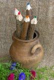 fünf verschiedene farbige Bleistifte in einem Tongefäß und in den Gartenblumen Stockbild