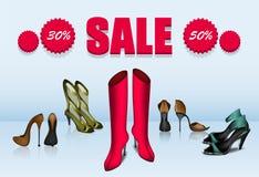 Fünf verschiedene Schuhe im Verkauf vektor abbildung