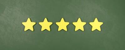 Fünf von fünf veranschlagenden Sternen, sehr gute Bewertungs-Konzepte vektor abbildung