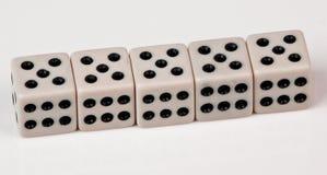 Fünf von Würfeln Stockfoto