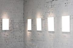 Fünf weiße leere Felder Lizenzfreie Stockfotografie