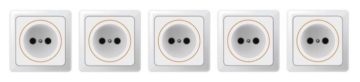 Fünf weiße Sockel auf einem weißen Hintergrund Raster 1 Lizenzfreie Stockfotografie