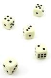 Fünf weiße Würfel, einer bis fünf Lizenzfreie Stockfotos