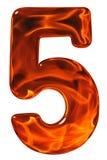5, fünf, Ziffer vom Glas mit einem abstrakten Muster eines flamin Lizenzfreie Stockfotos