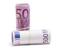 Fünfhundert Eurorollen Stockbilder