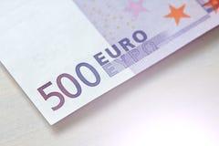 Fünfhundert Euros Euro 500 mit einer Anmerkung EURO 500 Stockbilder
