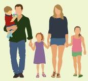 Fünfköpfige Familie Stockfoto
