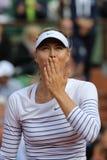 : Fünfmal Grand Slam-Meister Maria Sharapova in der Aktion während ihres Erstrundematches bei Roland Garros 2015 Stockfotografie