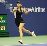 Fünfmal Grand Slam-Meister Maria Sharapova von Russland in der Aktion während ihrer US Open-Runde 2018 von Match 32 lizenzfreie stockfotos