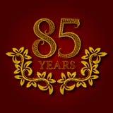 Fünfundachzig Jahre kopierte Firmenzeichen des Jahrestages Feier Goldenes Logo der fünften Weinlese des Jahrestages achtzig Stockfotografie