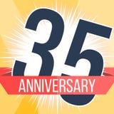 Fünfunddreißig Jahre Jahrestagsfahne 35. Jahrestagslogo Auch im corel abgehobenen Betrag Stockbild