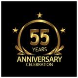 Fünfundfünfzig Jahre Jahrestag golden Jahrestagsschablonenentwurf für Netz, Spiel, kreatives Plakat, Broschüre, Broschüre, Fliege lizenzfreie abbildung