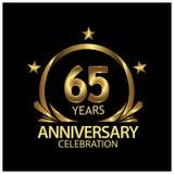 Fünfundsechzig Jahre Jahrestag golden Jahrestagsschablonenentwurf für Netz, Spiel, kreatives Plakat, Broschüre, Broschüre, Fliege lizenzfreie abbildung