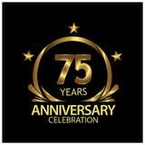 Fünfundsiebzig Jahre Jahrestag golden Jahrestagsschablonenentwurf für Netz, Spiel, kreatives Plakat, Broschüre, Broschüre, Fliege stock abbildung