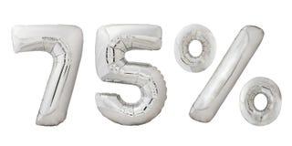 Fünfundsiebzig metallische Ballone des Prozentchroms Stockfotografie