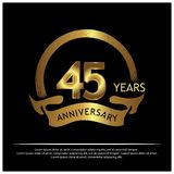 Fünfundvierzig Jahre Jahrestag golden Jahrestagsschablonenentwurf für Netz, Spiel, kreatives Plakat, Broschüre, Broschüre, Fliege lizenzfreie abbildung