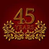 Fünfundvierzig Jahre kopierte Firmenzeichen des Jahrestages Feier Goldenes Logo der fünften Weinlese des Jahrestages vierzig Stockfoto