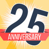 Fünfundzwanzig Jahre Jahrestagsfahne 25. Jahrestagslogo Auch im corel abgehobenen Betrag Stockbild