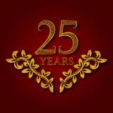 Fünfundzwanzig Jahre kopierte Firmenzeichen des Jahrestages Feier Goldenes Logo der fünfundzwanzigsten Jahrestagsweinlese Stockbild