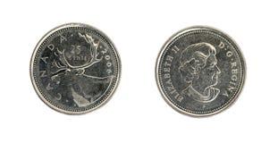 Fünfundzwanzig kanadische Cents Lizenzfreies Stockfoto