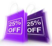 Fünfundzwanzig Prozent weg auf Taschen zeigt 25 Handel Lizenzfreie Stockbilder