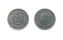 Fünfundzwanzig Türkischen kurush Münze Stockfotos