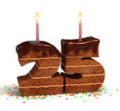 Fünfundzwanzigster Geburtstag- oder Jahrestagskuchen Lizenzfreies Stockbild